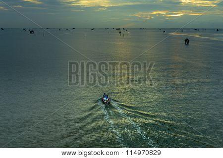 Morning Fishing Boat Ran Out At Bang Taboon Bay.