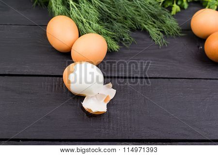 Eggs boiled on black boards