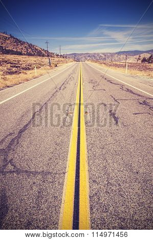 Vintage Toned Lanes On Endless Country Highway, Usa.