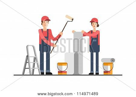 Repair Construction Company Service Home repair To Glue Wall Papers Painting Walls