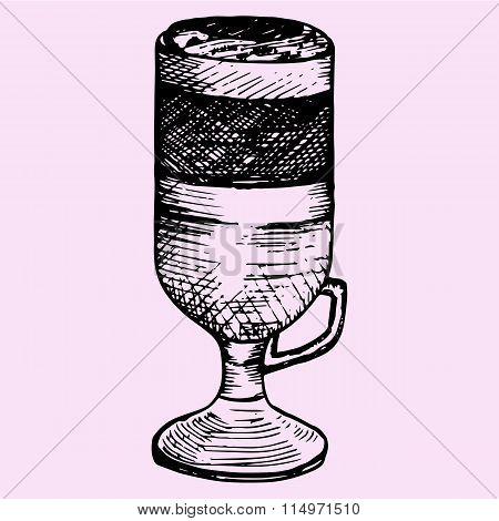 latte macchiato in glass cup