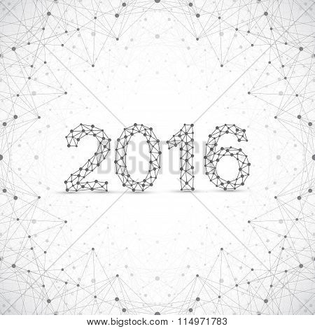 Text design Happy new year 2016. Graphic background molecule and communication. Connected lines with