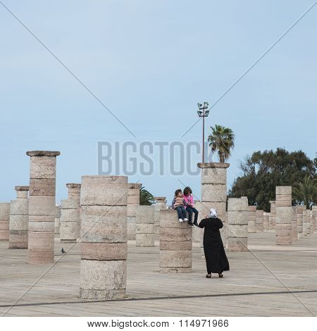 One Muslim Woman Takes Photo Of Two Girls