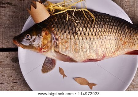 crucian carp on wooden table. creative concept. Princes of fish