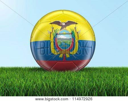 Soccer football with Ecuadorian flag. Image with clipping path
