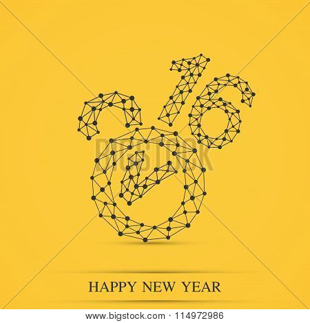 Text design Happy new year 2016 . Yellow background