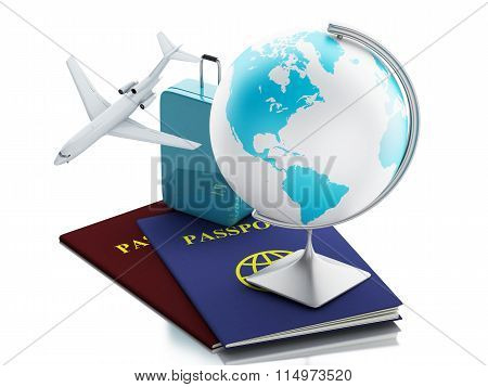3D Airplane, Passport, Earth Globe And Travel Suitcases.