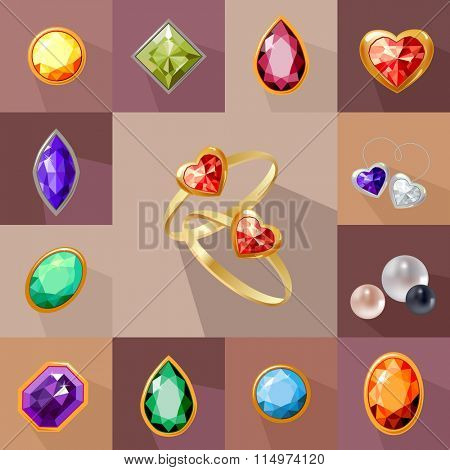 Template with gem stones and jewelry. For your design, announcements, cards, posters, advertisement.