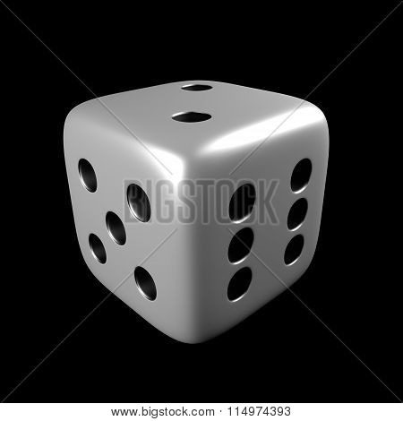 White Dice Isolated Over Black Background