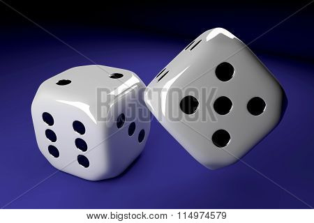Two Dice Lying On Blue Table