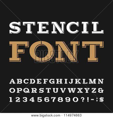 Stencil alphabet vector font.
