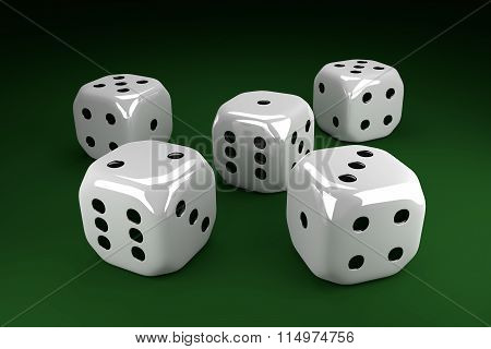 Five Dice Lying On Green Table