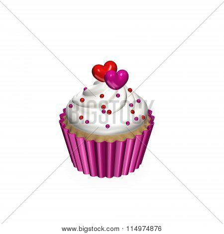 3D Cupcake With Two Hearts Isolated Over White