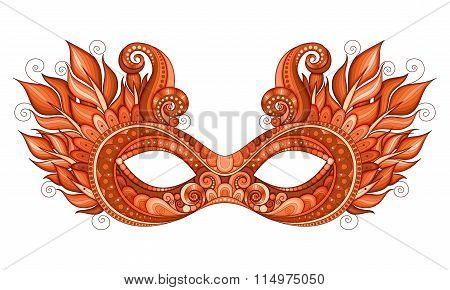Vector Ornate Red Mardi Gras Carnival Mask With Decorative Feathers