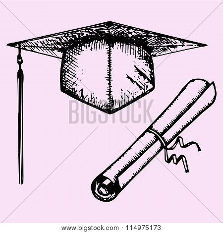 Graduation Cap with Degree and diploma