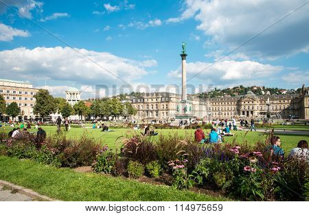 STUTTGART, GERMANY - September 10, 2015: Schlossplatz is the largest square in the center of Stuttgart, GERMANY