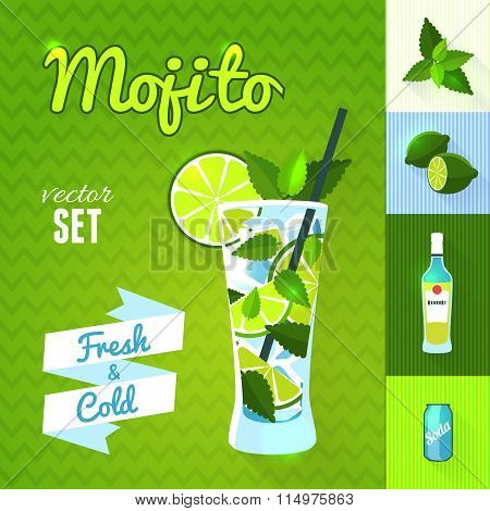 Mojito Cocktail Set. Vector illustration, eps10.