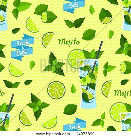 Mojito, Seamless Pattern. Vector illustration, eps10.