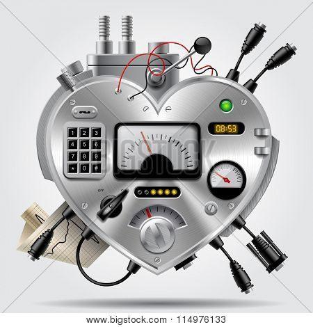 Sophisticated electronic device in the form of heart with the dashboard. Heart as computer system. Vector illustration