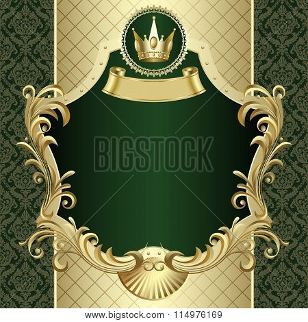 Vintage gold banner with a crown on dark green baroque ornamental background. Vector illustration