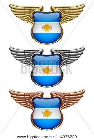Gold, silver and bronze award signs with wings and Argentina state flag. Vector illustration