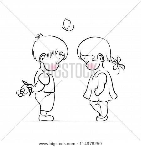 Shying boy and girl hand drawing illustration