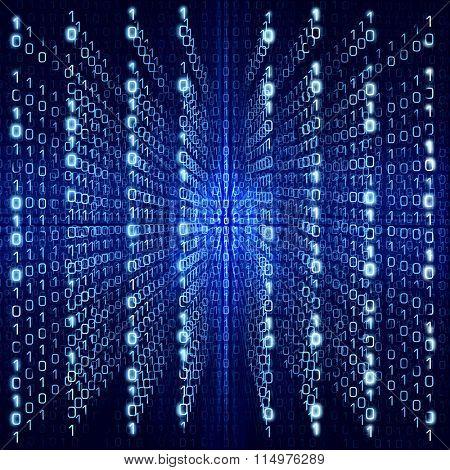 Blue Matrix Abstract - binary code Digital background - big size