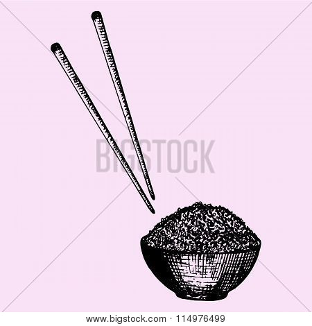 bowl of rice and chopstick, Chinese food