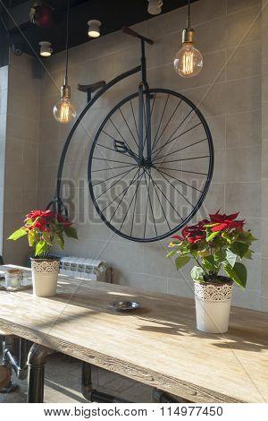 Retro Coffee Bar Interior Selective Focus
