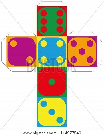 Dice Template Colorful Six Sided