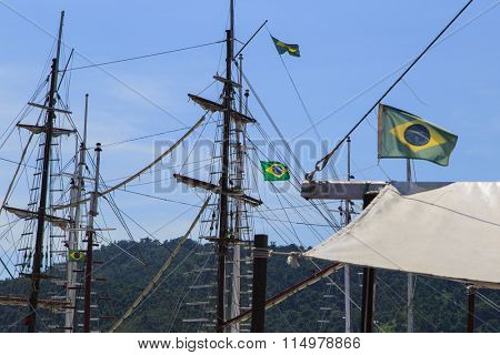 Boat masts and Brazil flags details - Photo taken in Paraty-RJ Brazil