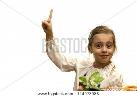 Smiling Girl With A Raised Index Finger