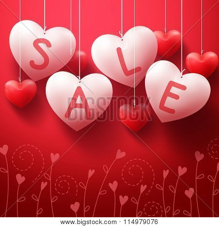 Hanging Heart Sale Balloons for Valentines Day Promotion in Red Background