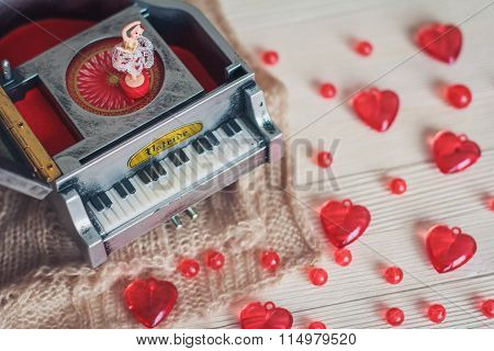 Music Box With Little Ballerina With Red Hearts