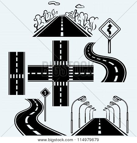 Road symbols with winding highways