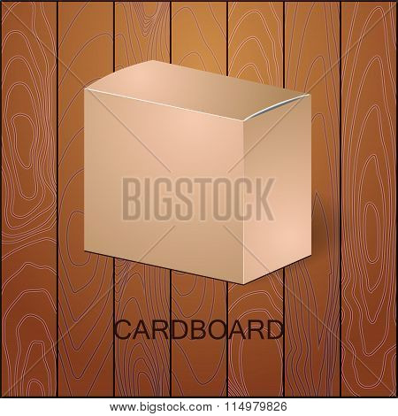 Isolated Cardboard Package Isolated Box On The Wood Background. Mock Up, Template. Stock Vector