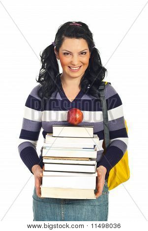 Happy Student Female With Pile Of Books