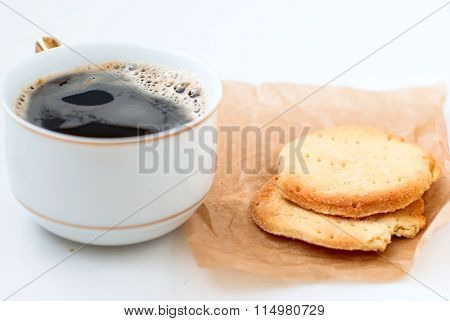 Homemade Sugar Cookies And And A Cup Of Coffee
