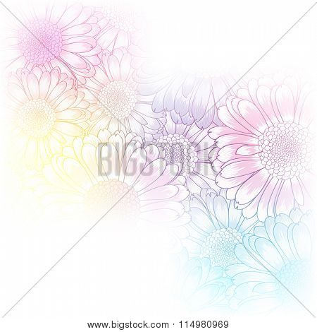 Hand-drawing floral background with flower gerbera. Element for design. Vector illustration.