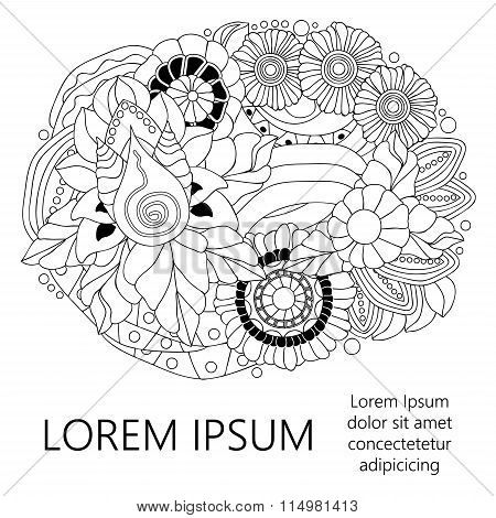 Stock Vector Doodle Floral Pattern With Place For Text. Black And White. Template