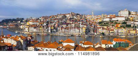 panorama of beautiful Porto ,Portugal