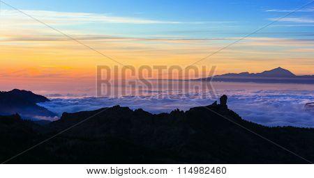 impressive Roque Nublo over sunset , Gran canaria island