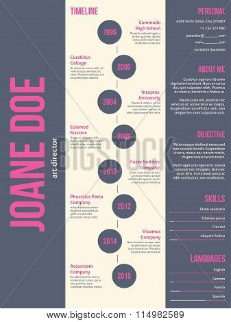 Pink Gray Modern Resume Cv Template Design