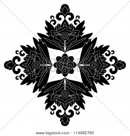 Stock Vector Orient Floral Pattern, Black And White