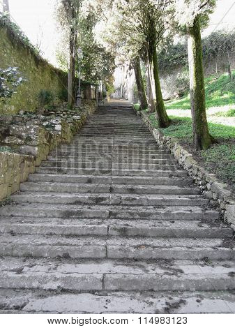 Steep Flight Of Stairs Leading Up To Medieval Village Of Volterra, Province Of Pisa, Tuscany, Italy