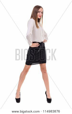 full-length portrait of a young business woman, isolated on white