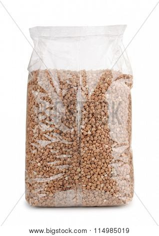 Buckwheat in plastic packet isolated on white