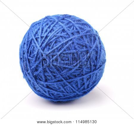 Clew of blue wool thread isolated on white