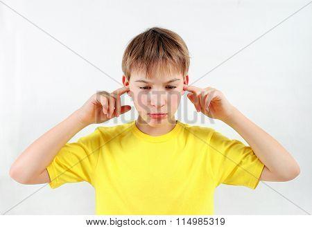 Displeased Kid Close The Ears