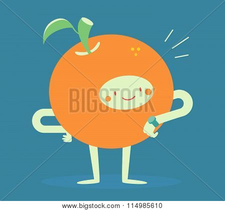 Orange Character Looking At A Watch